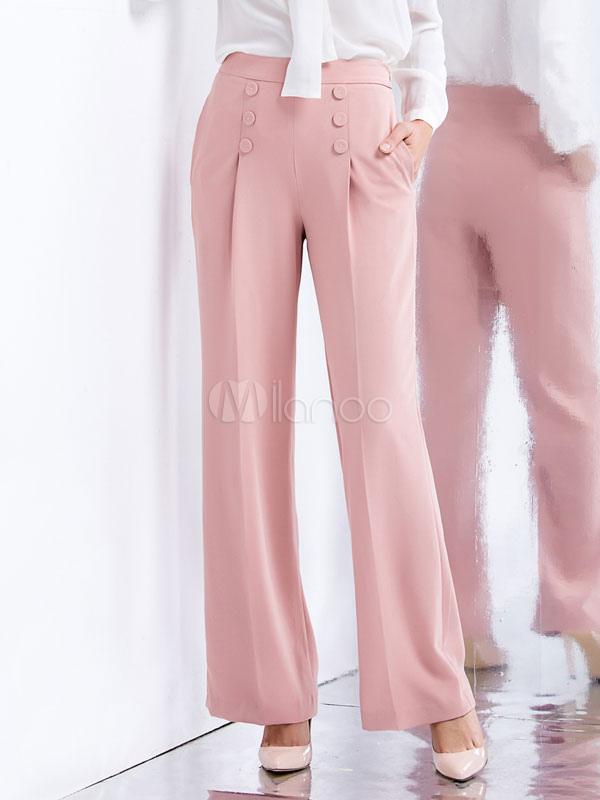ee8884b079a75 Botones de los pantalones de pierna ancha rosa pantalones de lino de  algodón para mujeres- ...