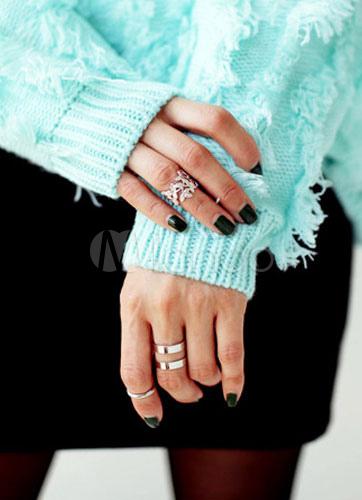 Knuckle argento anelli anelli di metallo foglia modello - Modello di foglia per bambini ...
