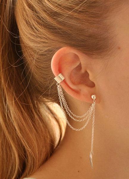 Silver Earrings Leaf Shape Chain Metal Earrings for Women