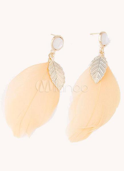 Champagne Earrings Leaf Feather Chic Earrings