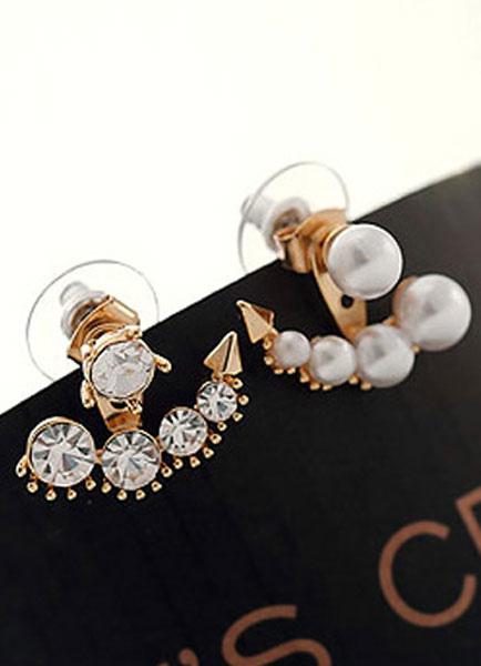 White Earrings Pearls Rhinestone Metal Earrings