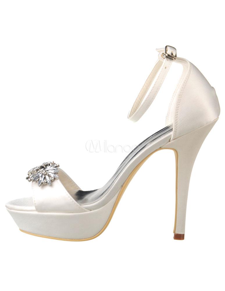 White Bridal Sandals Platform Rhinestones Satin Sandals