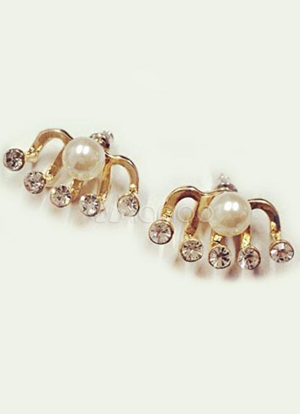 Gold Earrings Drop Shape Rhinestone Metal Earrings for Women