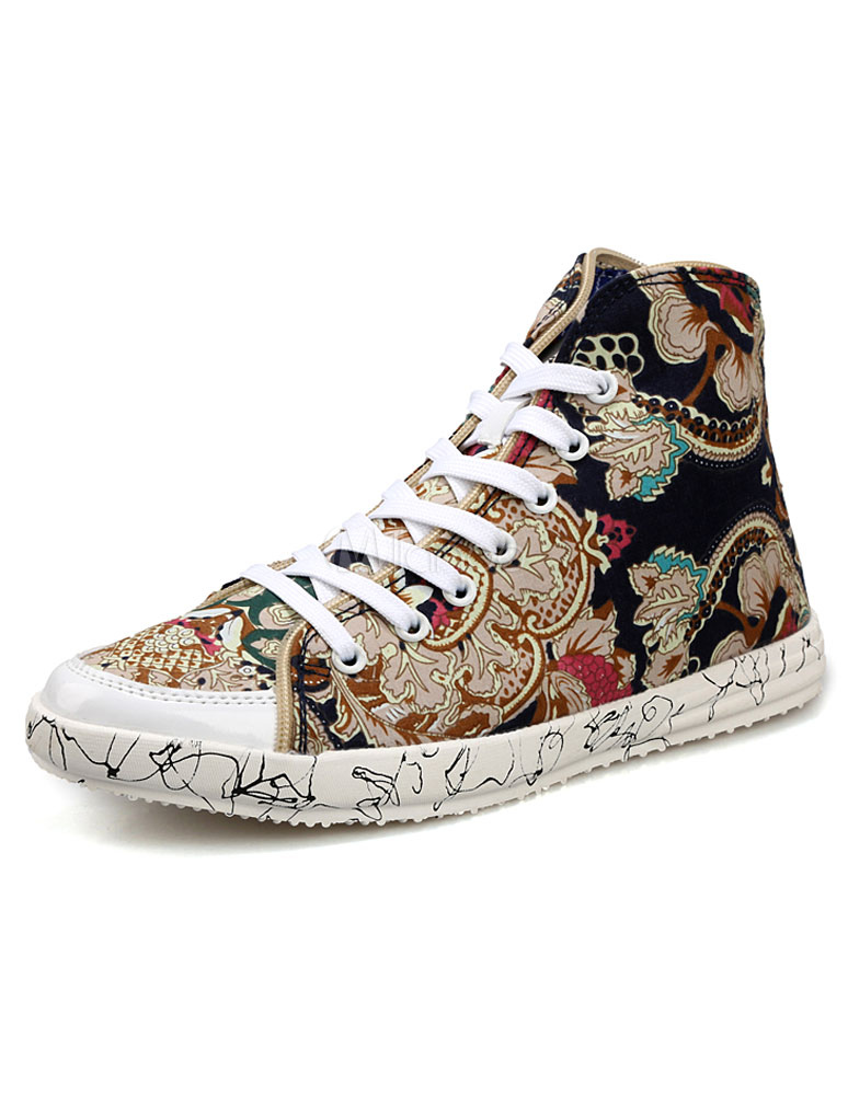 Multicolor Sneakers Print Lace up Sequined Cloth Sneakers for Men