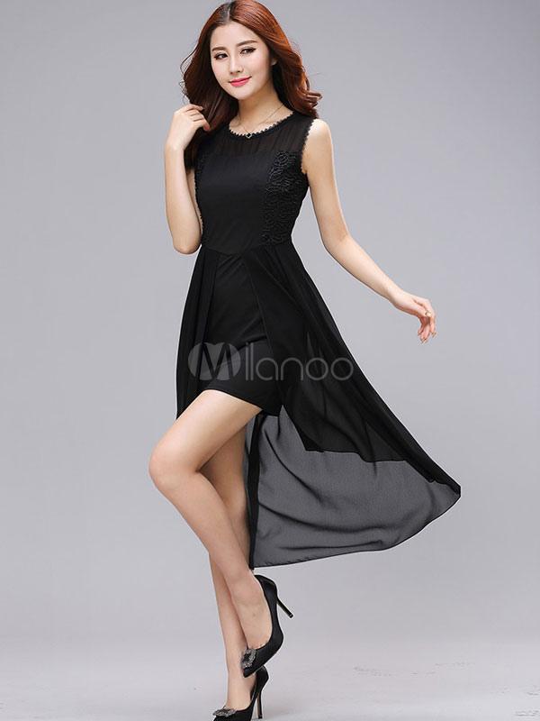 Buy Black Flare Dress High-Low Ruffles Semi-Sheer Chiffon Dress for $23.00 in Milanoo store