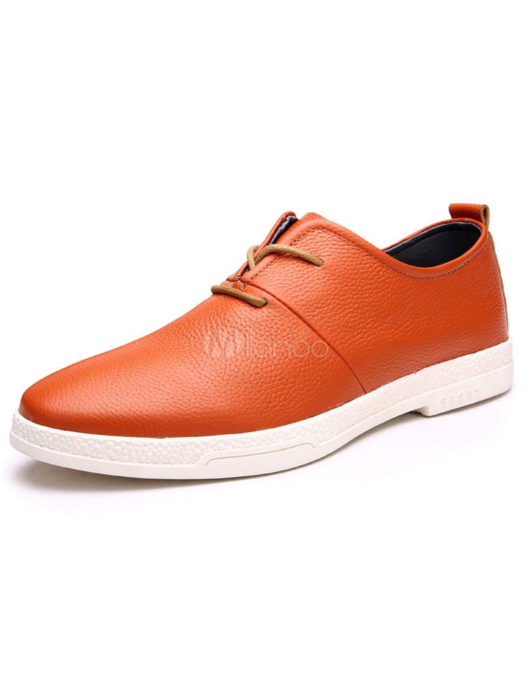 Per Pointed Con Arancione Cuoio Scarpe Gli Toe Lacci Di YEDW2H9I