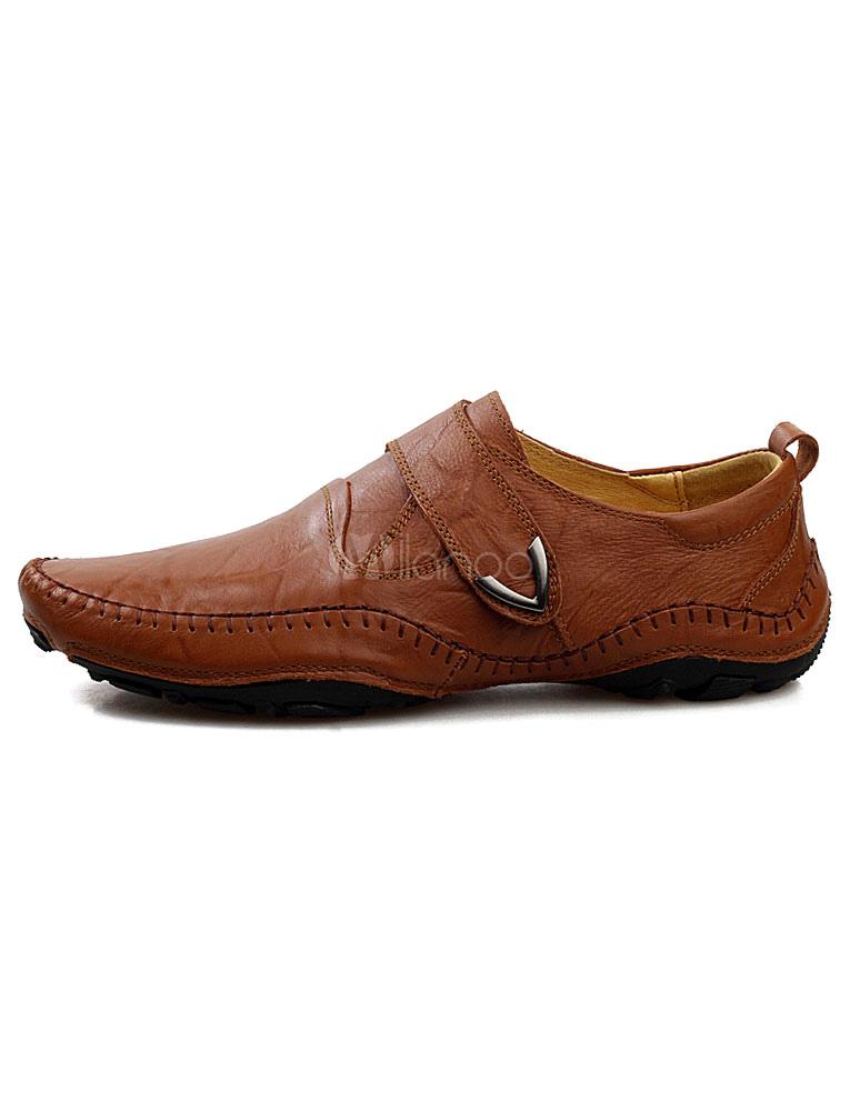 ... Brown chaussures Casual Chic en cuir-Slip pour les hommes-No.3 ...