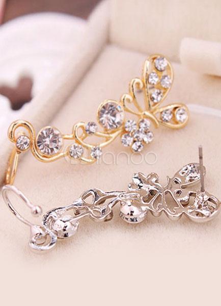 Buy Multicolor Earrings Butterfly Rhinestone Metal Earrings for Women for $2.75 in Milanoo store
