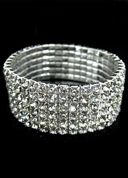 Silver Bracelet Rhinestone Chic Metal Bracelet for Women