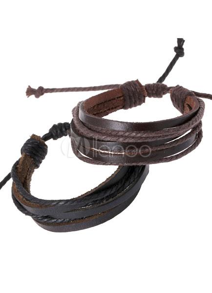 Brown Bracelet Layered Faux Leather Chic Bracelet for Men
