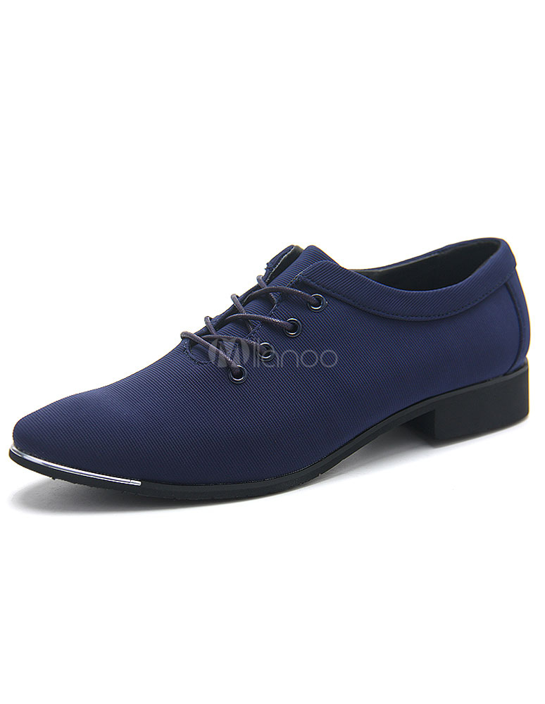Blue Leather Shoes Pointed Toe Lace Up Micro Suede Shoes for Men