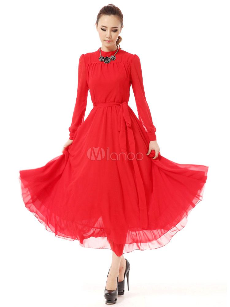 Red Maxi Dress Ruffles Slim Fit Chiffon Dress