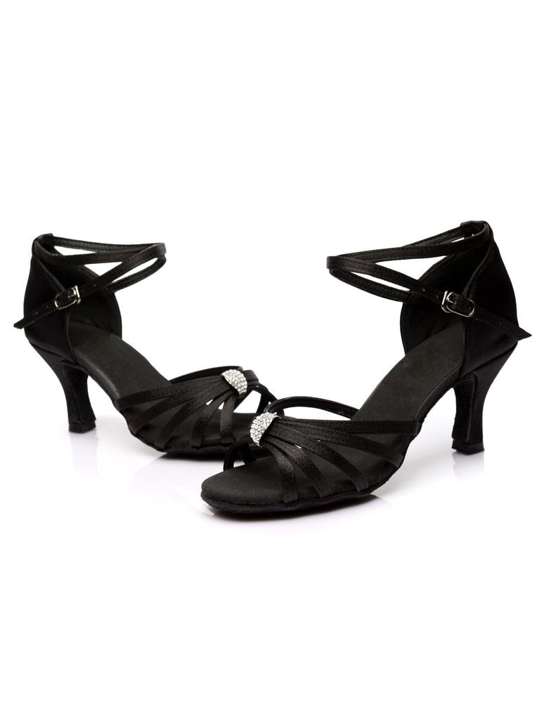 Zapatos baile latino Sandalias de baile latinas Correas recortadas Tacones de satén Zapatos de baile de salón VPAc2