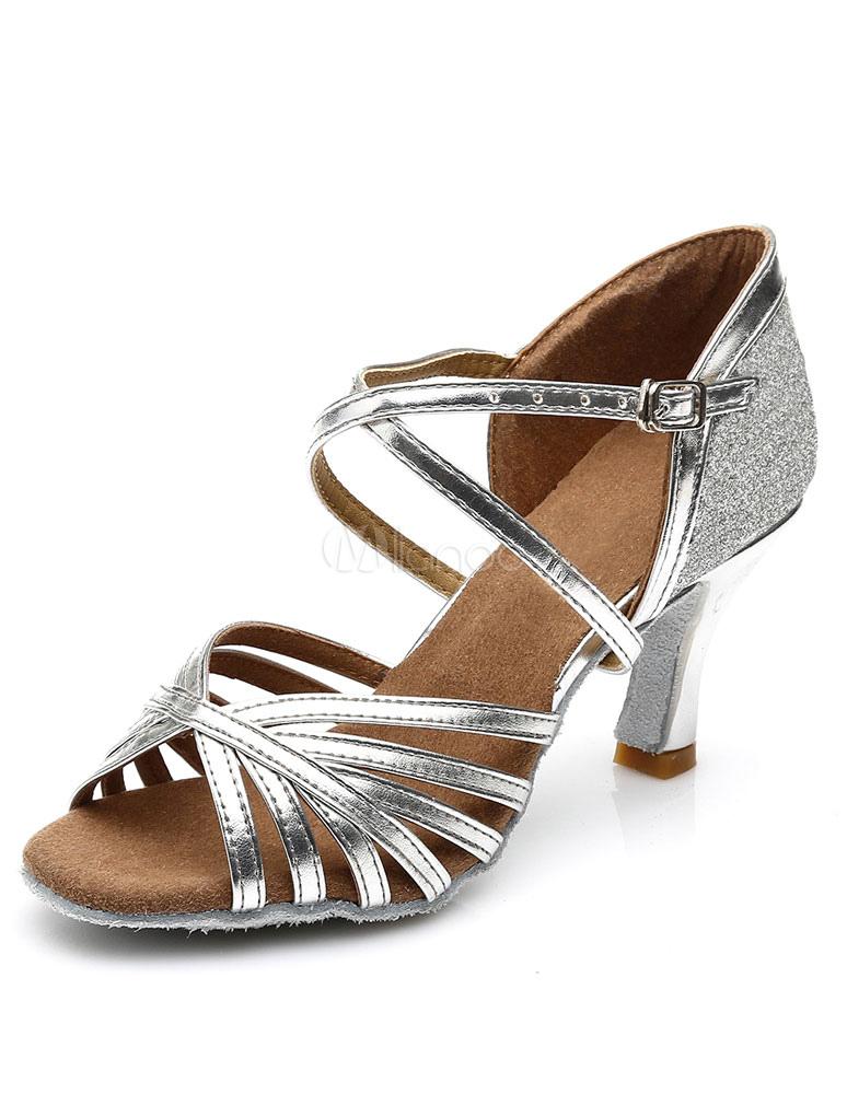 Sandalias de baile latino de oro cortan correas de PU talones d4VNTGlU6