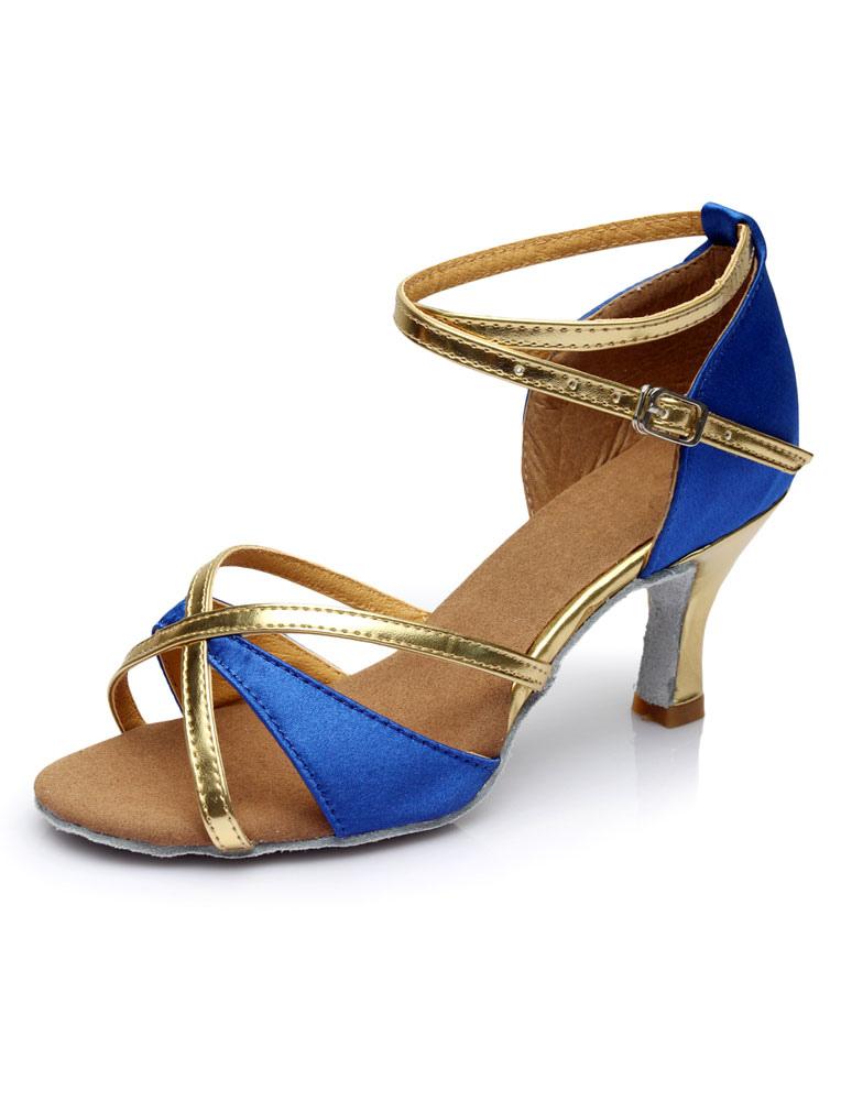 Multicolor de baile latino zapatos correas satén tacones n9S3D