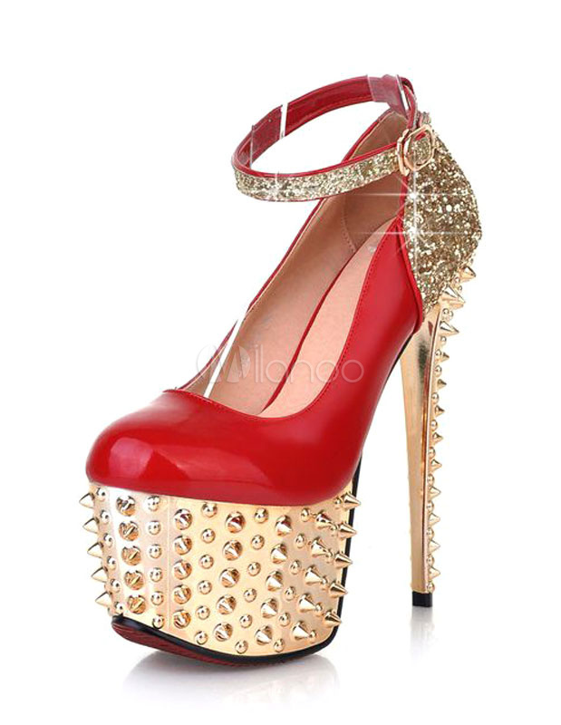 Red Pumps Platform Rivets Glitter Sequins High Heels