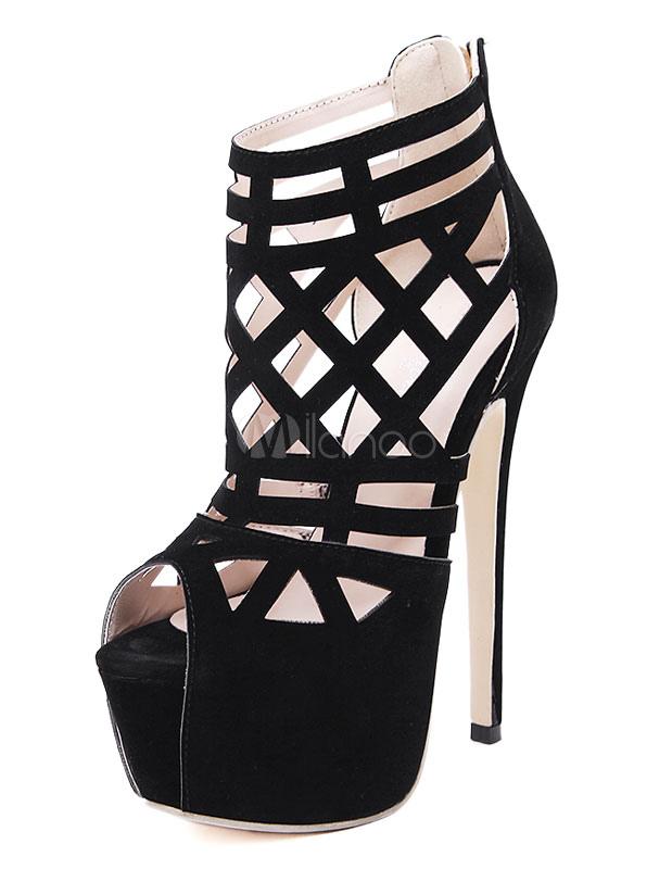 Black Sandals Platform Peep Toe Cut-Out Micro Suede Heels