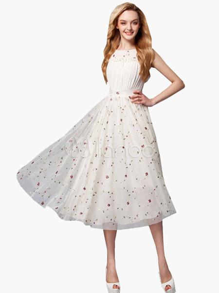 White Dress Tea-Length Print Ruffles Chiffon Dress