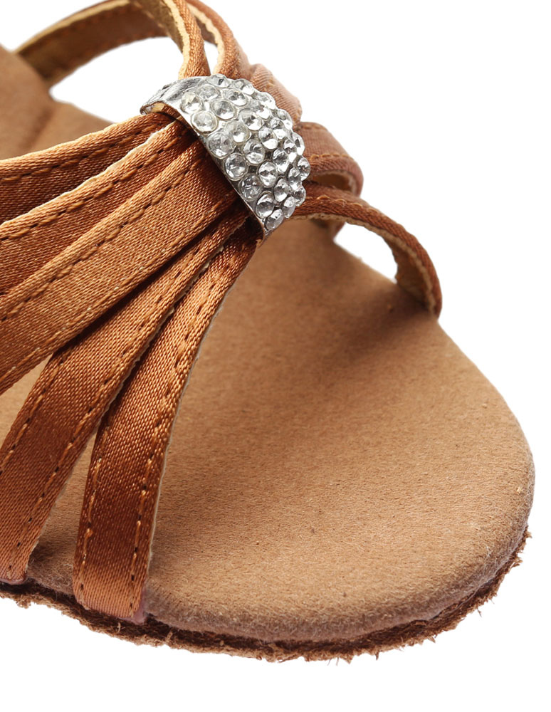 Zapatos baile latino Sandalias de baile latinas Correas recortadas Tacones de satén Zapatos de baile de salón WWdDozeM