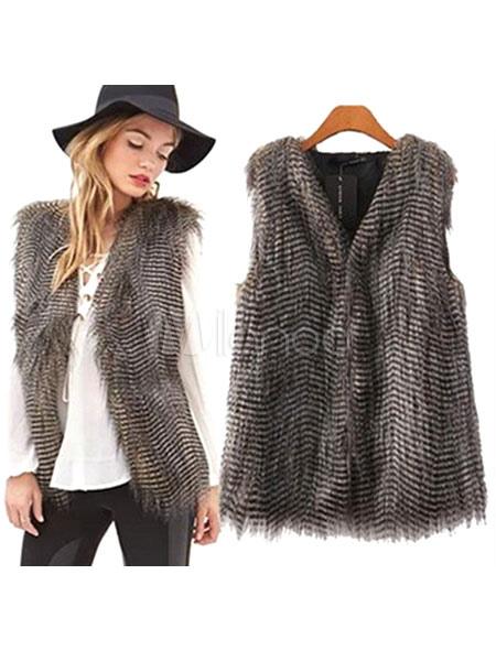 Chaleco estaño rayas chaqueta de piel falsa impresión chaleco poliéster  para mujeres-No.1 ... 603712aeaac5