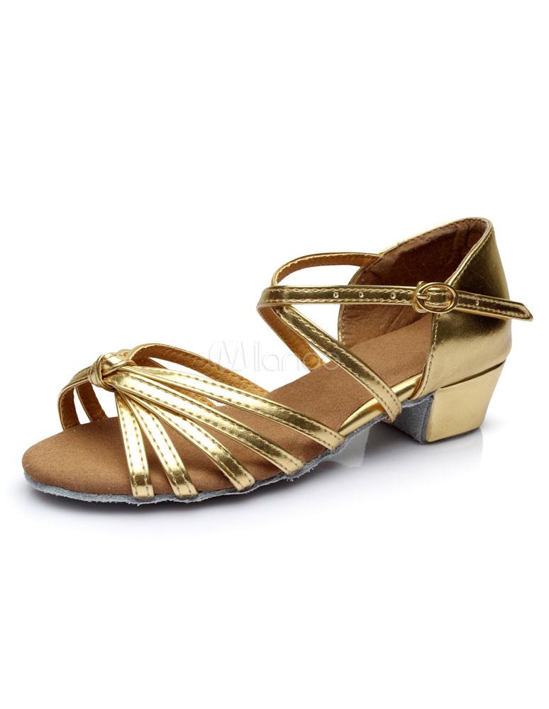 talones PU sandalias oro latino correas Baile gwqXSxTzT