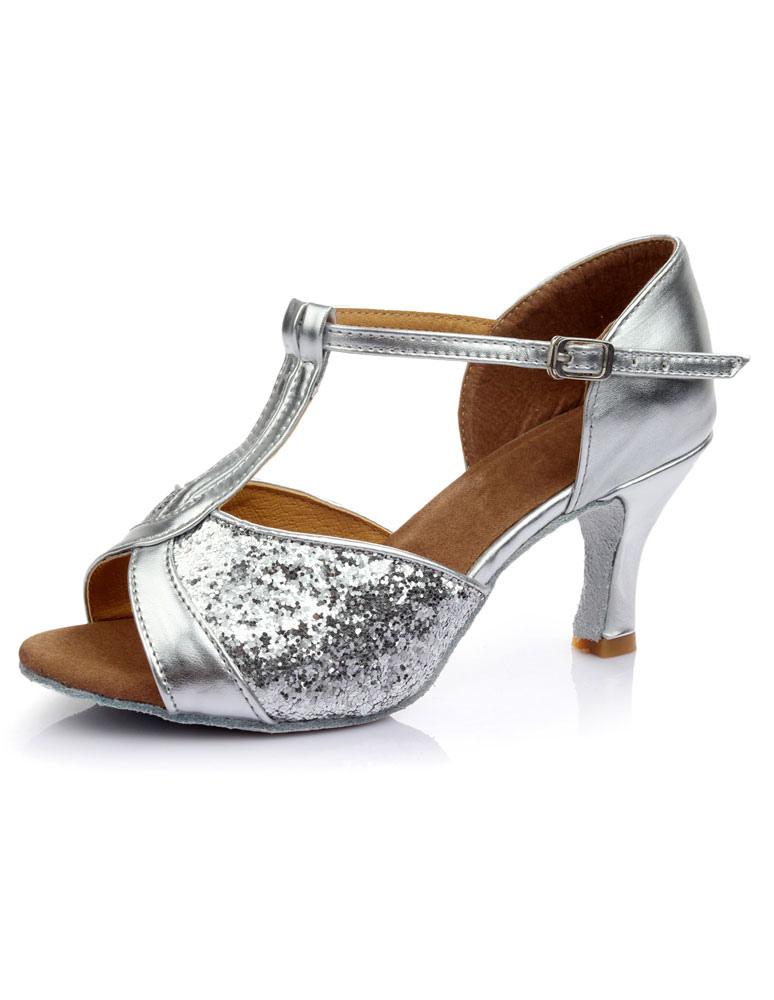 Zapatillas de baile latinas Zapatillas de deporte con brillo tipo abierto Zapatos de baile estilo salón de baile dorado a4qmU