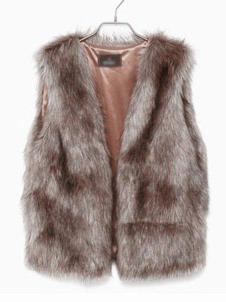 Women Faux Fur Vest Camel Coat Sleeveless Faux Fur Jacket Cheap clothes, free shipping worldwide