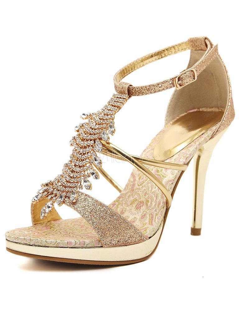 Milanoo / Gold Sandals Rhinestone Glitter High Heels