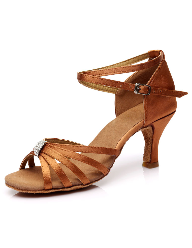 Latin Dance Sandals Cut Out Straps Satin Heels Ballroom Dance Shoes