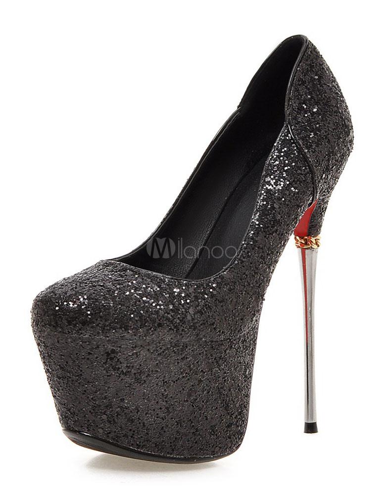 Milanoo / Black Pumps Platform Glitter Sequins High Heels