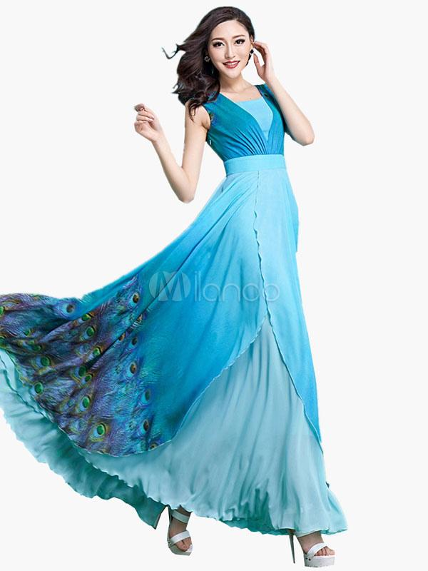 Maxi abito blu abito elegante in Chiffon stampa floreale - Milanoo.com 35727f6101f2