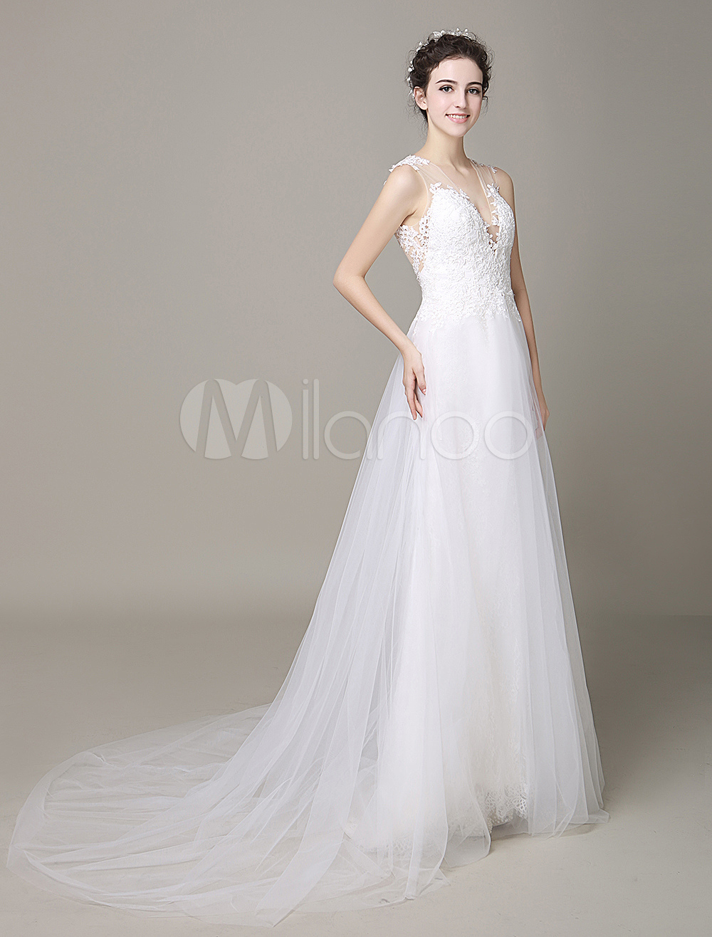 Ivory Wedding Dress Illusion Deep-V Strapless Lace Tulle Wedding Gown Milanoo