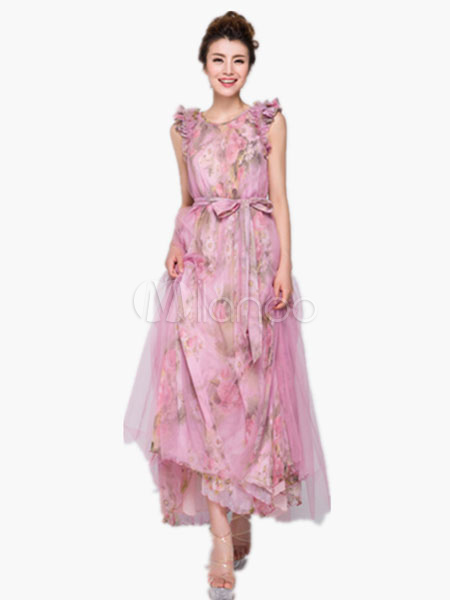 Pink Maxi Dress Floral Print Sash Bow Chiffon Dress