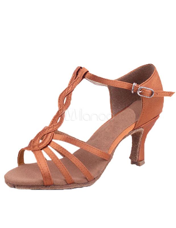 Sandalias de baile latino marrón cortan correas de satén tacones WdwZXmiIv