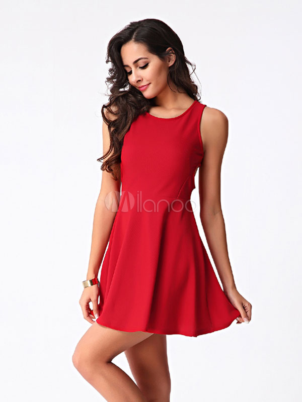 Corte Sin Respaldo Mini Vestido Rojo Vestido Corto De Algodón
