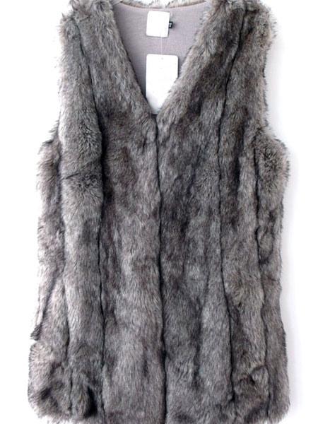 Faux Fur Vest Women Gray Coat Sleeveless Faux Fur Jacket
