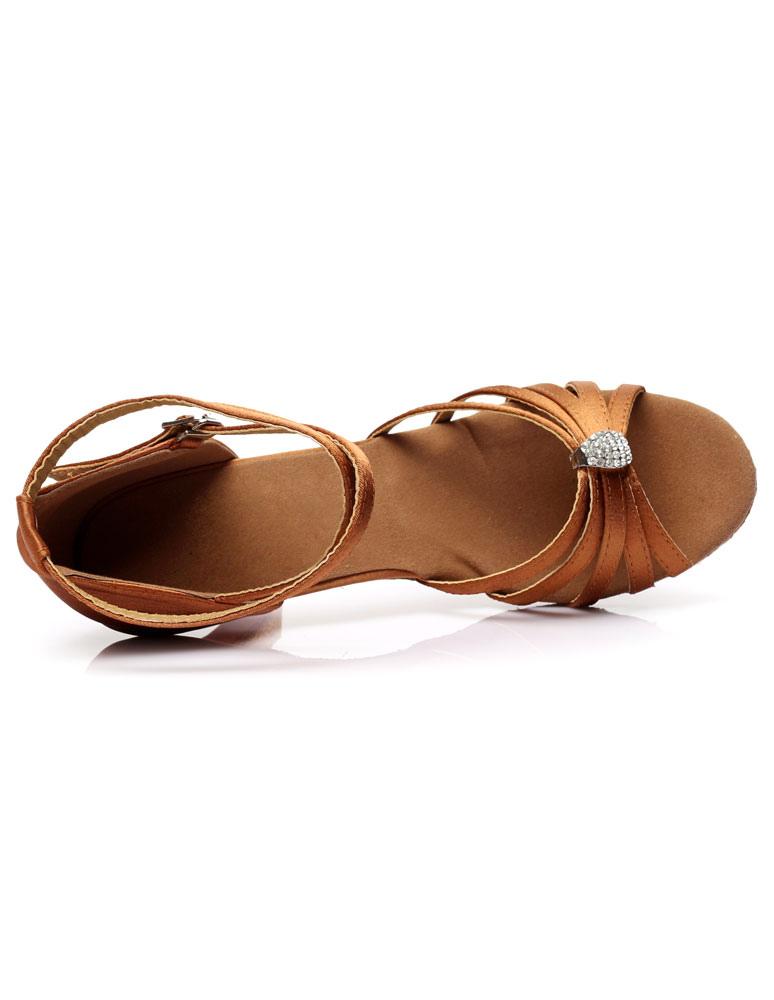 Zapatos baile latino Sandalias de baile latinas Correas recortadas Tacones de satén Zapatos de baile de salón BUZQUj
