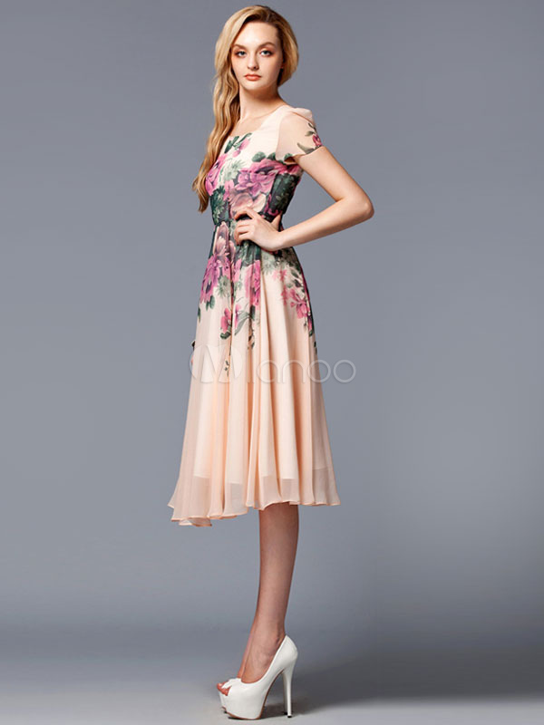 the latest 53c30 63915 Vestito rosa floreale stampa al ginocchio in Chiffon Abito Vintage
