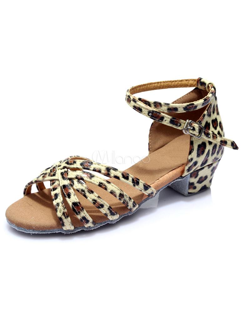 Sandalias de baile latino impresión leopardo cortan correas de satén tacones 19CNalpzv