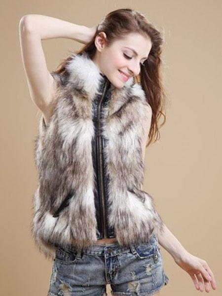 Women Faux Fur Vest Zippered Faux Fur Coat Sleeveless Leather Jacket