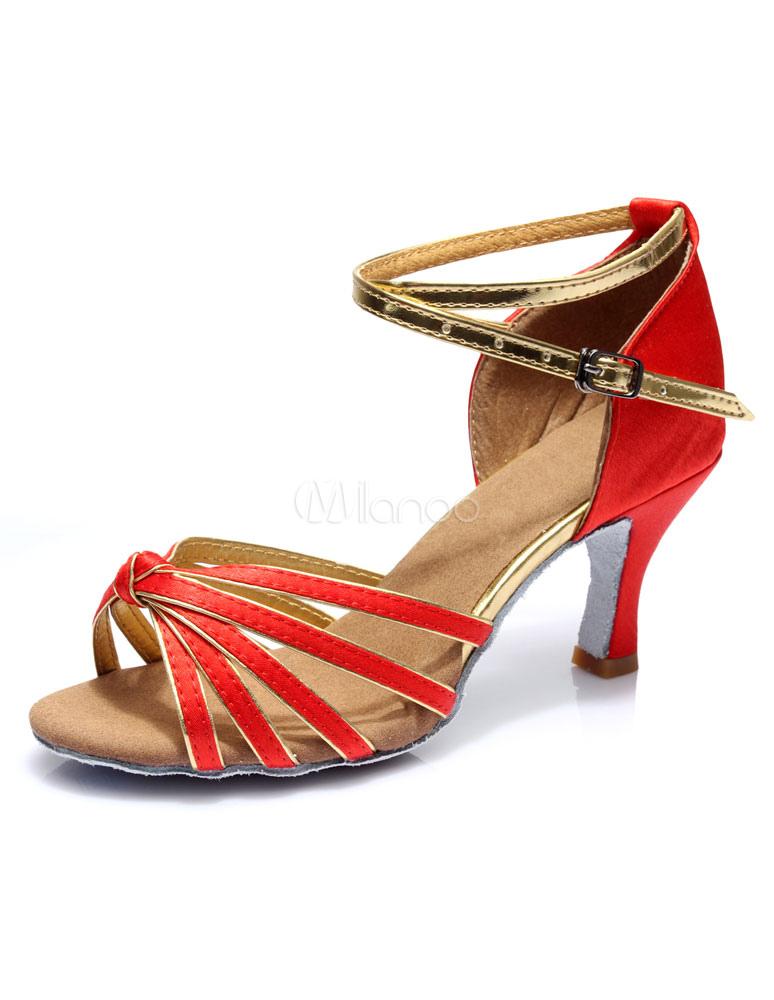 Sandalias Tacones Negro Correas Baile Iqwxa55tu4 Latino Satén Moda iOPXuZk