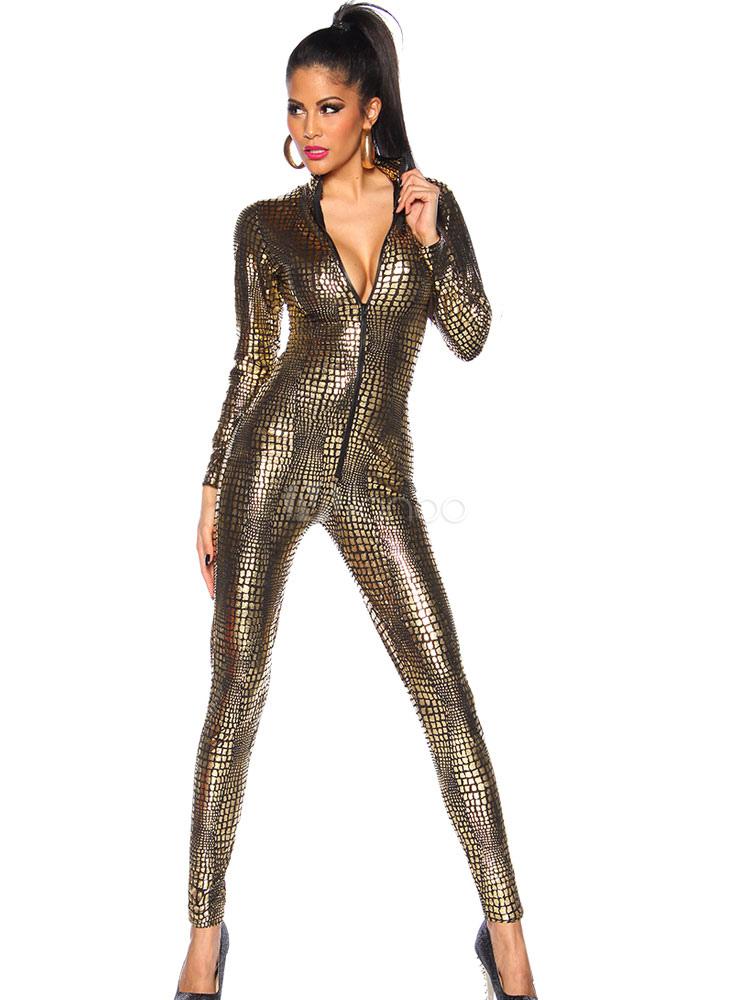 info for e5d17 28818 Taglio basso oro tuta serpente PU stampa Clubwear Set