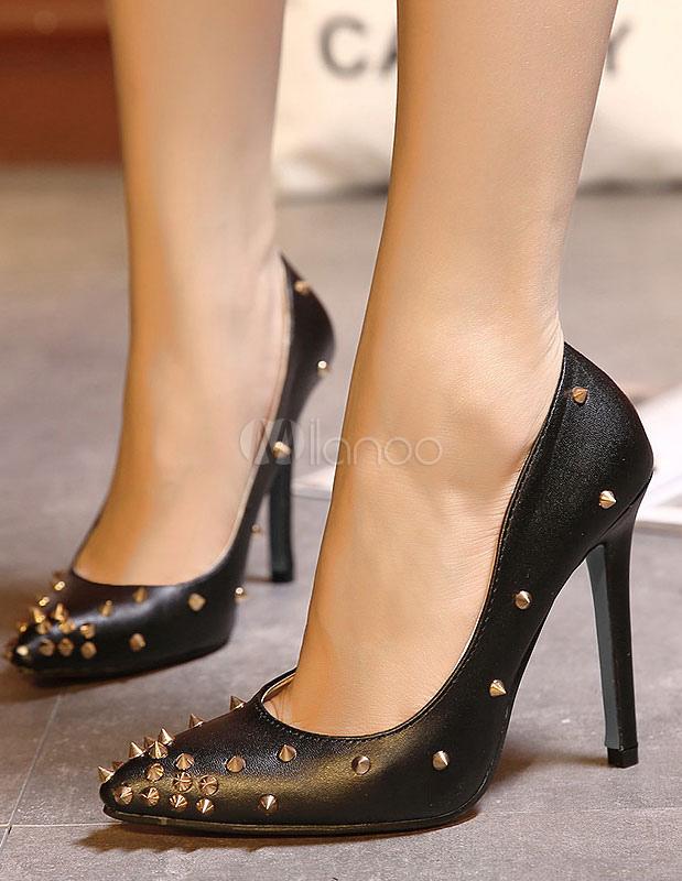 schwarze pumps nieten spitze toe pu heels. Black Bedroom Furniture Sets. Home Design Ideas