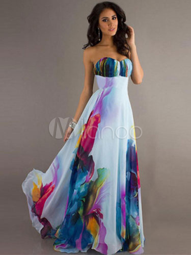 Colorful Maxi Dress Chiffon Boho Dress Strapless Floral Print Women