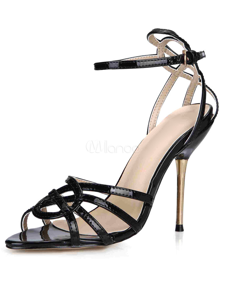 Buy Black Sandals Straps Patent PU Heels for Women for $56.99 in Milanoo store