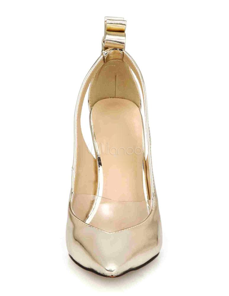 Sandalias plata señalaron Toe arco PU tacones para las mujeres W9XRZx