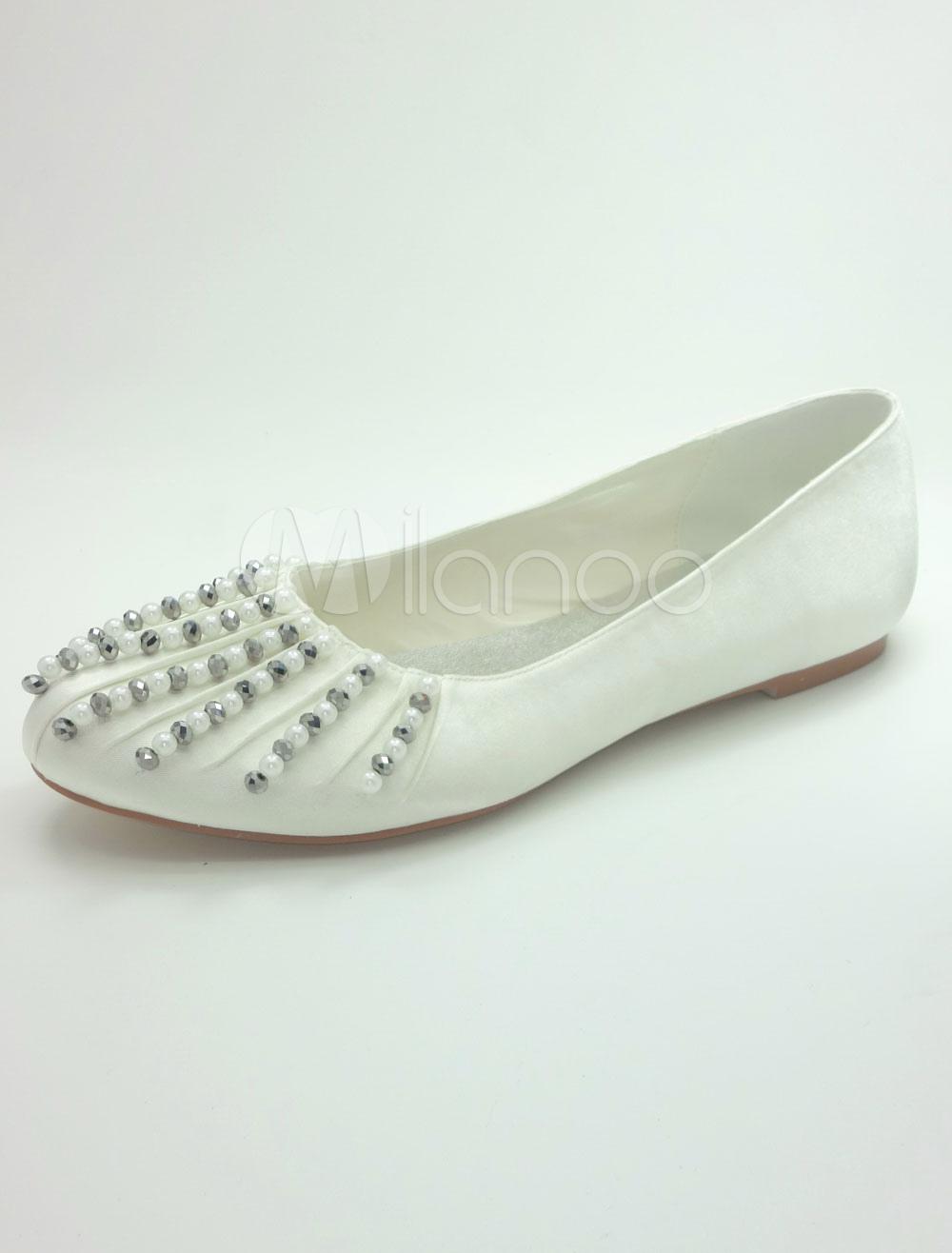 White Bridal Flats Beaded Satin Wedding Shoes for Women