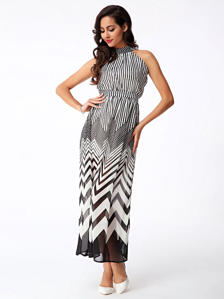 11fc0473217d9 Women s Dress Sleeveless Maxi Dress Zigzag Print Chiffon Dress-No. ...