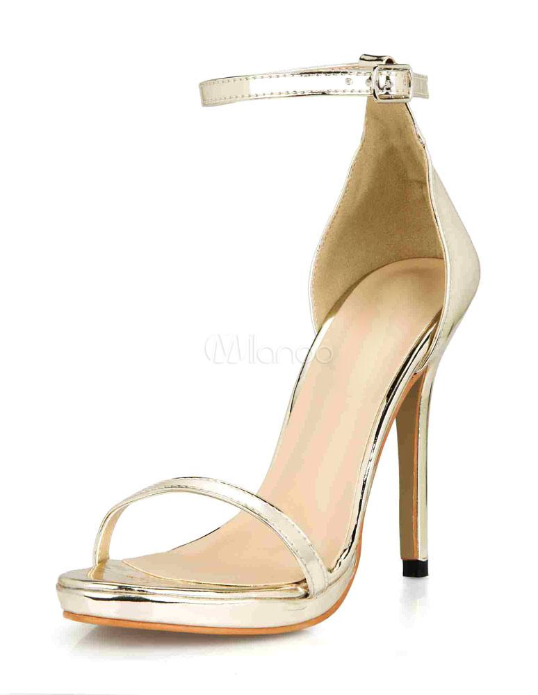 Silver Sandals Straps Glazed PU Heels for Women