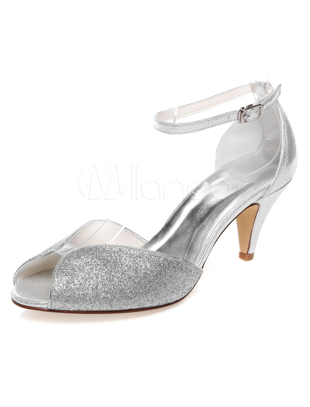 Silver Bridal Pumps Sequins PU Wedding Sandals for Women